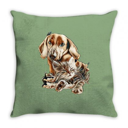 Cat And Dog Throw Pillow Designed By Kemnabi