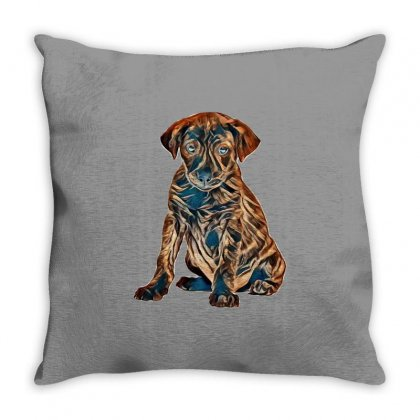 Brown And Black Dog Sitting Against White Background Throw Pillow Designed By Kemnabi