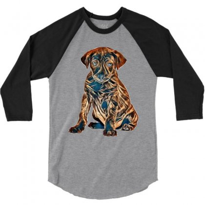 Brown And Black Dog Sitting Against White Background 3/4 Sleeve Shirt Designed By Kemnabi