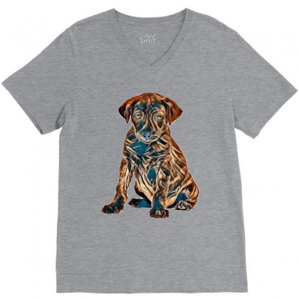 Brown And Black Dog Sitting Against White Background V-neck Tee Designed By Kemnabi