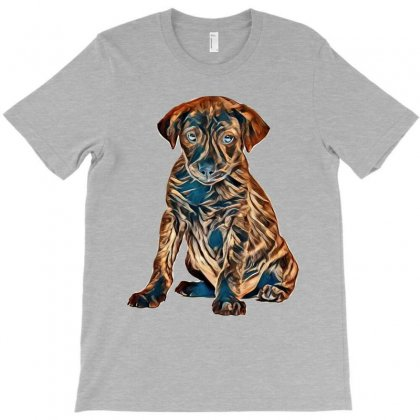 Brown And Black Dog Sitting Against White Background T-shirt Designed By Kemnabi