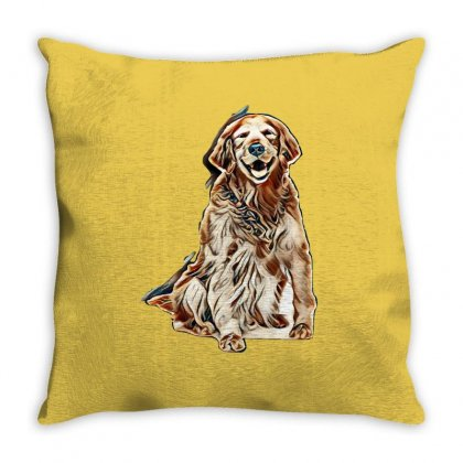 Old Golden Retriever Isolated On White Throw Pillow Designed By Kemnabi
