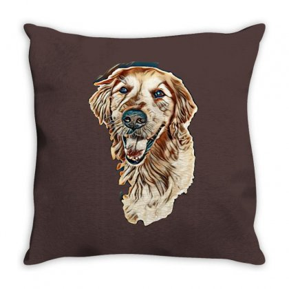 Smiling Dog On White. A Old Golden Retriever Portrait On Isolated Back Throw Pillow Designed By Kemnabi