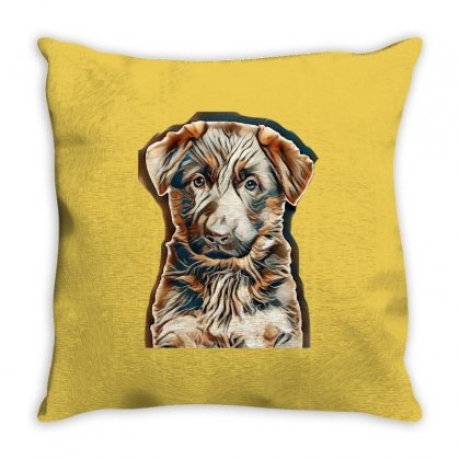 Shepherd Puppy Isolated Throw Pillow Designed By Kemnabi