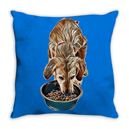 Golden Retriever Puppy Dog Eating Out Of A Bowl Full Of Food Against A Throw Pillow Designed By Kemnabi