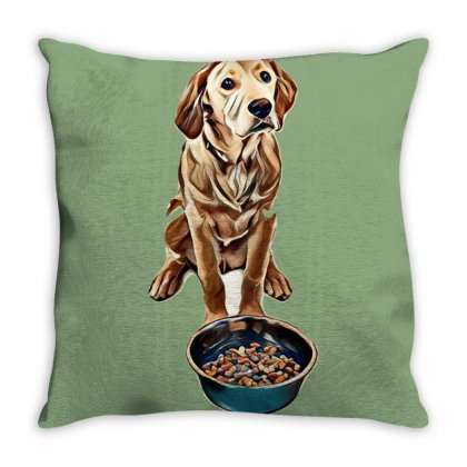 Cute Golden Retriever Puppy Dog Sitting Next To A Bowl Full Of Food Ag Throw Pillow Designed By Kemnabi