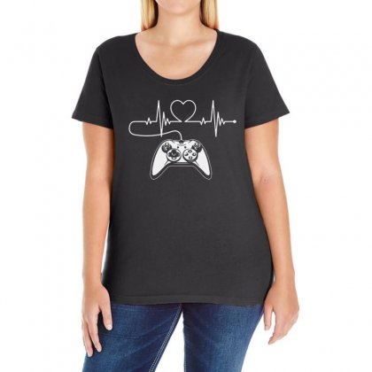Gamer Heartbeat T Shirt Video Game Lover Ladies Curvy T-shirt Designed By Fejena