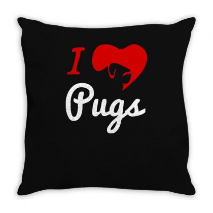 I Love Pugs Throw Pillow Designed By Ismi