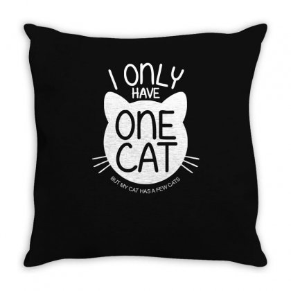 I Only Have One Cat My Cat Has A Few Cat Throw Pillow Designed By Ismi