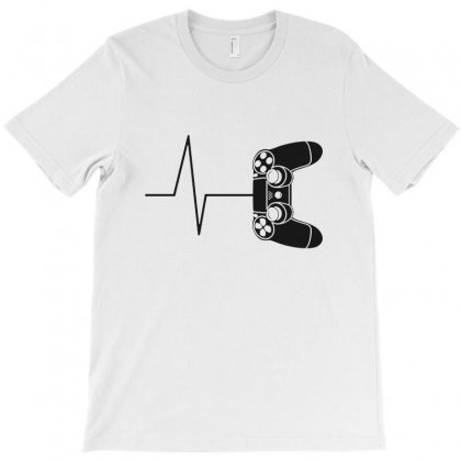 Gamer Heartbeat Funny Video Gamer Pullover T-shirt Designed By Fejena