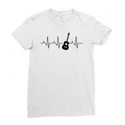 Acoustic Guitar Heartbeat Ladies Fitted T-shirt Designed By Fejena