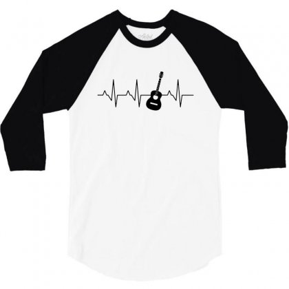 Acoustic Guitar Heartbeat 3/4 Sleeve Shirt Designed By Fejena