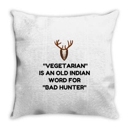 Vegetarian Bad Throw Pillow Designed By Perfect Designers