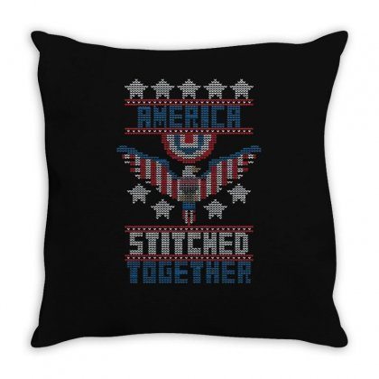 America Stitched Together Throw Pillow Designed By Achreart