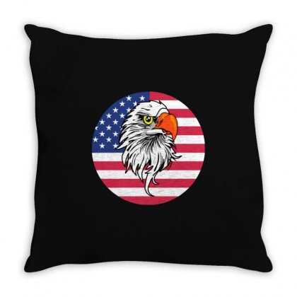 American Eagle Patriotic Sports And Nature Throw Pillow Designed By Balqis Tees