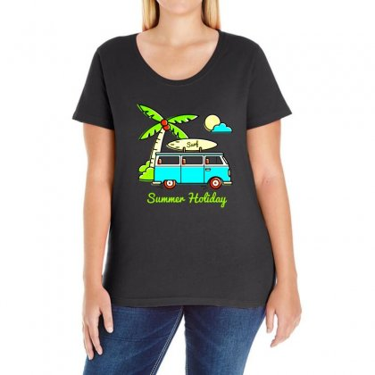 Summer Holiday Combi Ladies Curvy T-shirt Designed By Fejena