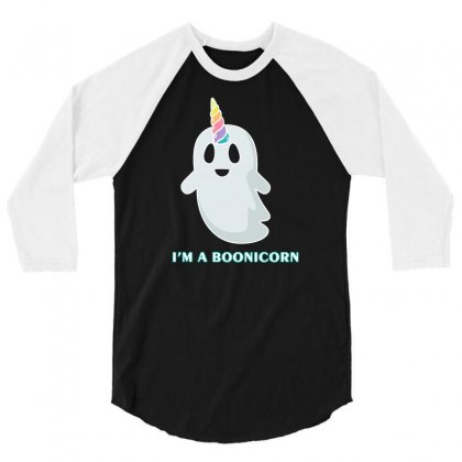 I M A Boonicorn Funny Ghost 3/4 Sleeve Shirt Designed By Lotus Fashion Realm