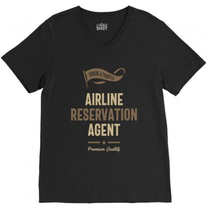 Airline Reservation Agent V-neck Tee Designed By Cidolopez