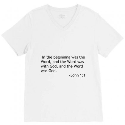 Bible Quote John V-neck Tee Designed By Perfect Designers