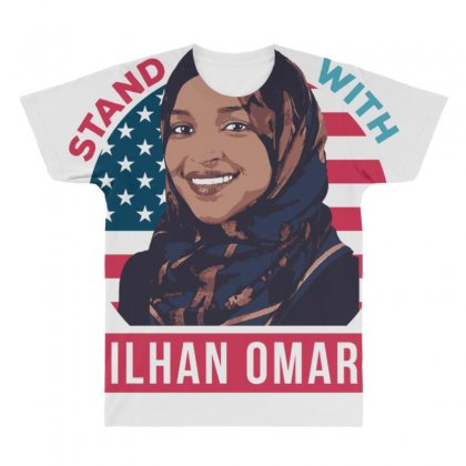 Stand With Ilhan Omar All Over Men's T-shirt Designed By Anrora