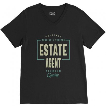 Estate Agent V-neck Tee Designed By Cidolopez