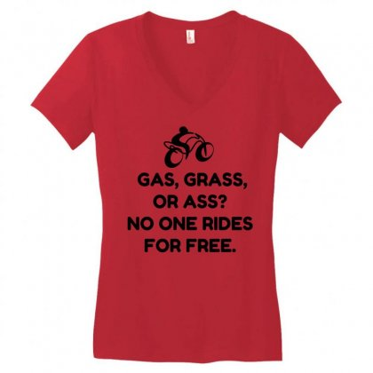 Motorcycle Gas Grass Ass Women's V-neck T-shirt Designed By Perfect Designers