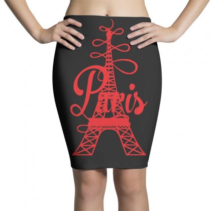 Paris Script Eiffel Tower French France Pencil Skirts Designed By Z4hr4