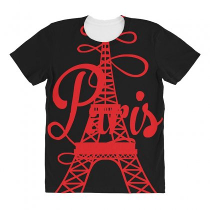 Paris Script Eiffel Tower French France All Over Women's T-shirt Designed By Z4hr4