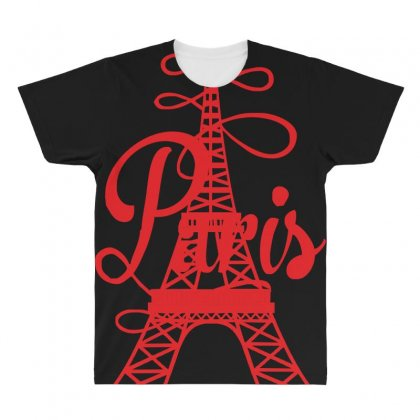 Paris Script Eiffel Tower French France All Over Men's T-shirt Designed By Z4hr4