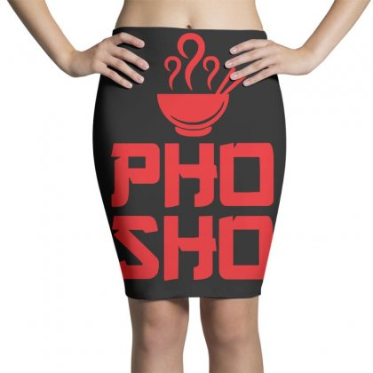 Pho Sho Foodie Asian Food Humor Chopsticks Funny Pencil Skirts Designed By Z4hr4