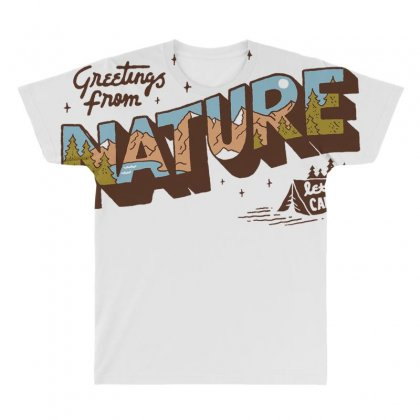 Greetings From Nature Lets Camp All Over Men's T-shirt Designed By Anrora
