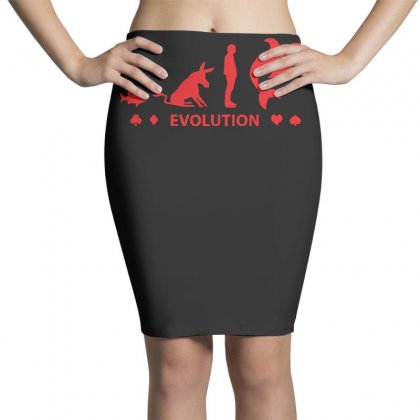 Poker ~ Fish To Shark Evolution ~ Mens Funny Poker Pencil Skirts Designed By Z4hr4