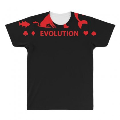 Poker ~ Fish To Shark Evolution ~ Mens Funny Poker All Over Men's T-shirt Designed By Z4hr4