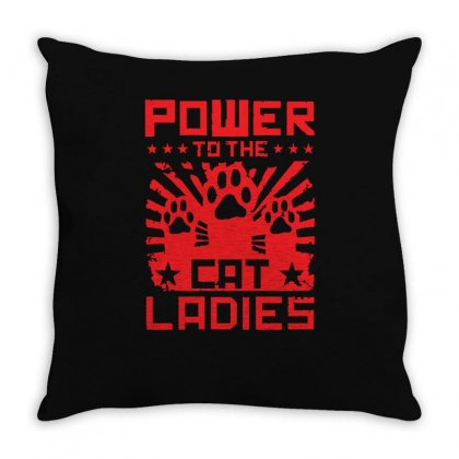 Power To The Cat Ladies Throw Pillow Designed By Z4hr4