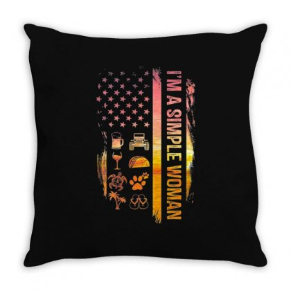 Simple Woman Jeep Flip Flops Dog Wine Usa Flag Throw Pillow Designed By Kakashop