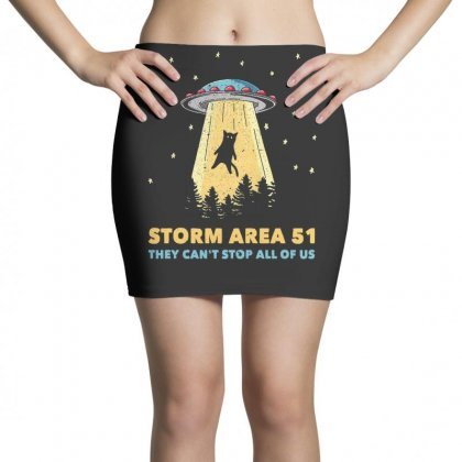 Storm Area 51 Vintage Funny Alien Abduction Ufo T Shirt Mini Skirts Designed By Cuser1744