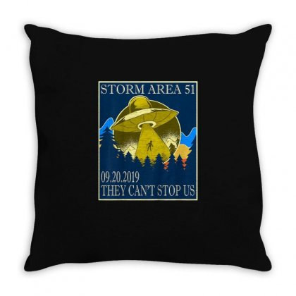 Storm Area 51 Vintage Funny Alien Abduction Ufo Shirt Throw Pillow Designed By Cuser1744