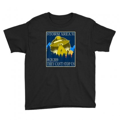 Storm Area 51 Vintage Funny Alien Abduction Ufo Shirt Youth Tee Designed By Cuser1744