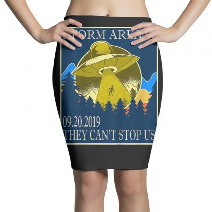 Storm Area 51 Vintage Funny Alien Abduction Ufo Shirt Pencil Skirts Designed By Cuser1744
