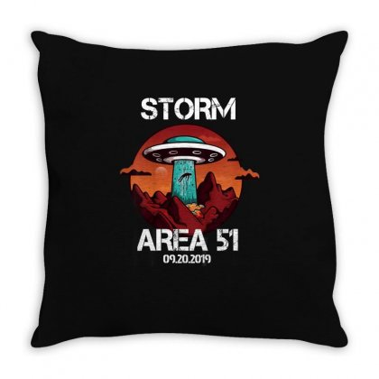 Storm Area 51 Vintage Funny Alien Abduction Ufo Tshirt Throw Pillow Designed By Cuser1744