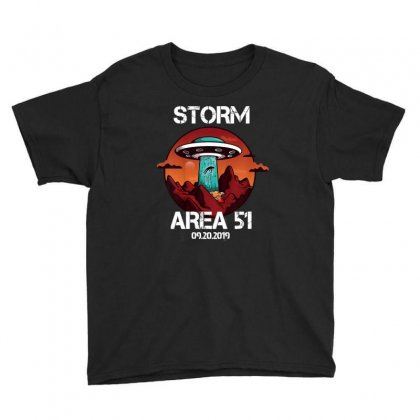 Storm Area 51 Vintage Funny Alien Abduction Ufo Tshirt Youth Tee Designed By Cuser1744