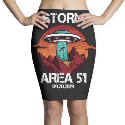 Storm Area 51 Vintage Funny Alien Abduction Ufo Tshirt Pencil Skirts Designed By Cuser1744