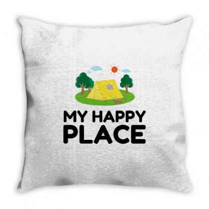 My Happy Place Camping Tent Throw Pillow Designed By Perfect Designers