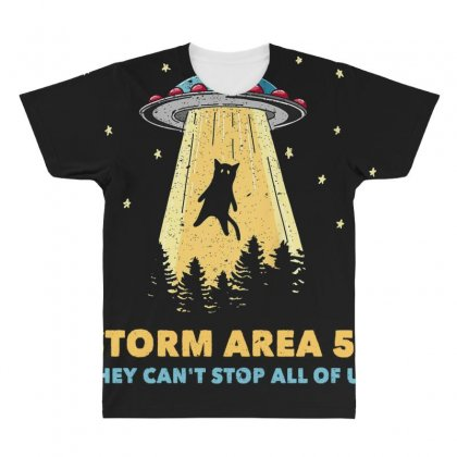 Storm Area 51 Vintage Funny Alien Abduction Ufo T Shirt All Over Men's T-shirt Designed By Cuser1744