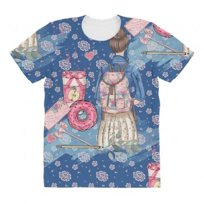 Back To School All Over Women's T-shirt Designed By Jade