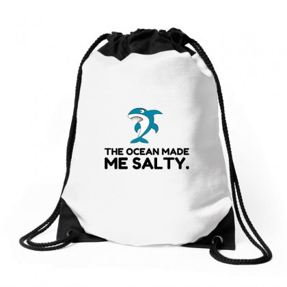 Ocean Made Me Salty Shark Drawstring Bags Designed By Perfect Designers