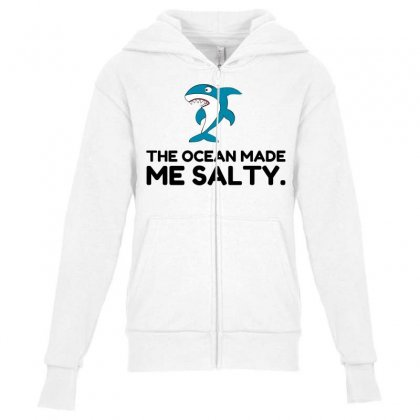 Ocean Made Me Salty Shark Youth Zipper Hoodie Designed By Perfect Designers