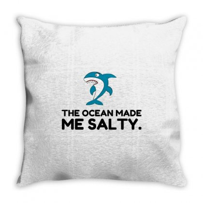 Ocean Made Me Salty Shark Throw Pillow Designed By Perfect Designers