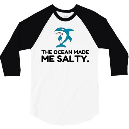 Ocean Made Me Salty Shark 3/4 Sleeve Shirt Designed By Perfect Designers