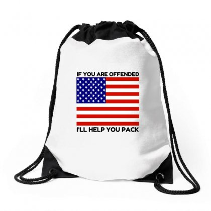 Offended Help You Pack  Usa Flag Drawstring Bags Designed By Perfect Designers